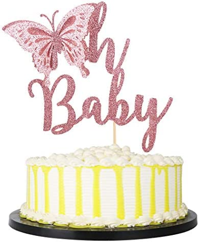 PALASASA Glittery Oh Baby Butterfly Cake Topper Baby Shower Girl Baby Shower Cake Topper Gender product image