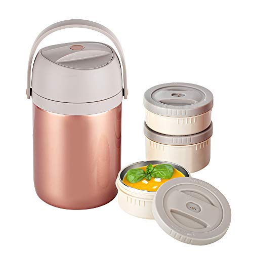 Insulated Food Jar Thermal Food Containers 65oz Vacuum Stainless Steel Lunch Jar 3-Tier Stackable Leakproof Hot Cold Thermos Lunch Container for School Office Picnic Travel Outdoors