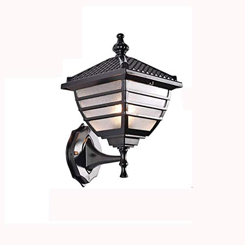 Lampes murales rétro imperméables, Vintage LED Balcon Jardin Table à manger En Aluminium Suspension extérieure Lampe En Verre Mur Lumière Antique Salon Éclairage Applique Murale (Size : Black)