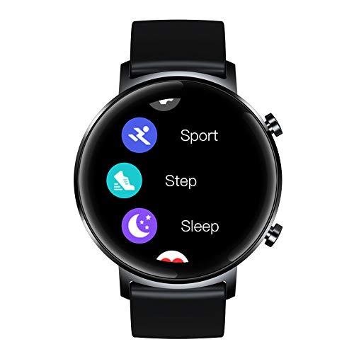 APCHY Reloj Inteligente Smartwatch,Rastreadores De Actividad De Pantalla De Alta Definición De Círculo Completo De 1.3 Pulgadas,Batería Grande De 180 Mah,Salud Femenina,Recordatorio De Calculadora,B