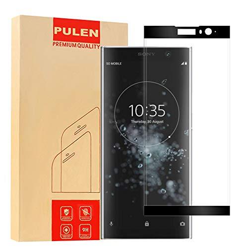 PULEN Compatible with Sony Xperia XA2 Plus Panzerglas Schutzfolie [3D Curved] Gehärtetem Glas Bildschirmschutzfolie [Anti-Fingerabdruck / Anti-Kratzer ] HD Klar Blasenfreie Panzerglasfolie (Schwarz)