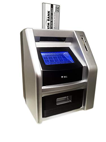 Lyght Touch Panel ATM Savings Bank for Real Money, Electronic Piggy Bank, Cash Coin Money Box for Kids, Silver/Black