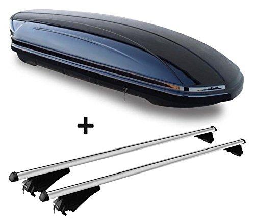 VDP Dachbox schwarz glänzend MAA 460G Auto Dachkoffer 460 Liter abschließbar + Alu-Relingträger Dachgepäckträger aufliegende Reling im Set kompatibel mit Audi A6 4G Avant ab 11