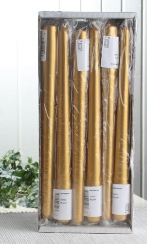 12er-Sparpack Premium-Spitzkerzen 25 x 2,3 cm Ø, Gold