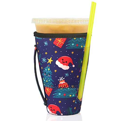 Wiederverwendbarer Kaffeebecher, dunkin, 880 ml, isolierter Becherhalter, ideal für Starbucks, McDonalds (Weihnachtsdekoration, 850-907 ml)