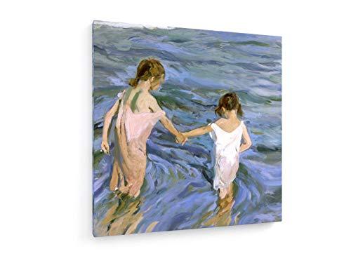 weewado Sorolla y Batista - Ninos en el mar - 1909 60x60 cm Impresion en Lienzo - Muro de Arte - Canvas, Cuadro, Poster - Old Masters/Museum