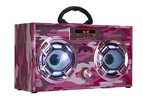 Mini Boombox with LED Speakers –Retro Bluetooth Speaker w/Enhanced FM Radio - Perfect for Home and Outdoor (Pink Camo)