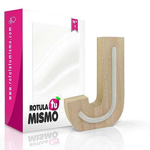 Letras de Neon con madera |Sin cables | Madera de 2,5 cm de grosor | Letras para cualquier evento o decoración de casa | (J)