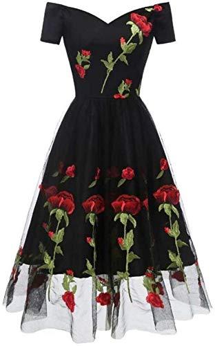 Vestido de Cóctel de Compromiso Floral Vintage con Cuello en V, Manga Corta, Mini Tul Satinado con Apliques, Negro, Xxl, LIFU, Negro, XX-grande