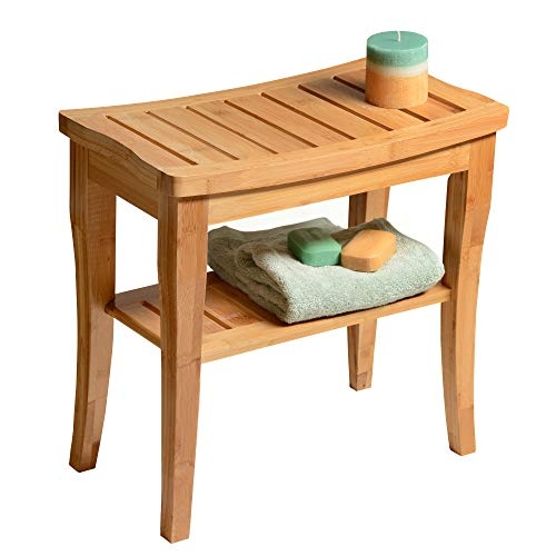 Premium Bamboo Shower Bench with Shelf - Wooden 2-Tier Bathroom and Shoe Organizer with Storage Shelf