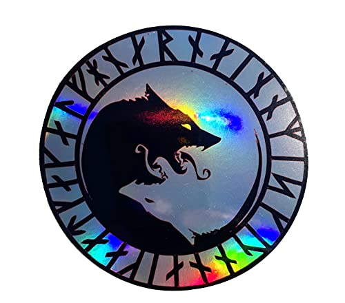 WickedGoodz ÚLFHÉÐNAR Rune No Mercy Only Violence Wolf Holographic Vinyl Decal - Viking Bumper Sticker - Icelandic Scandinavian Sticker