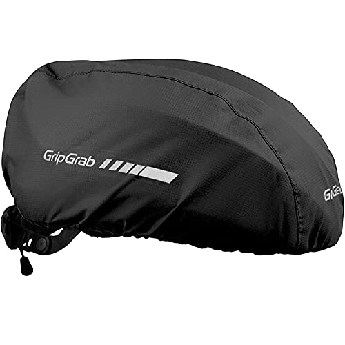 GripGrab Waterproof Windproof Cycling Rain Helmet Cover Reflective Bicycle Commuting High-Visibility Road MTB Headwear, Copricapo da Ciclismo Unisex-Adult, Nero, Taglia Unica