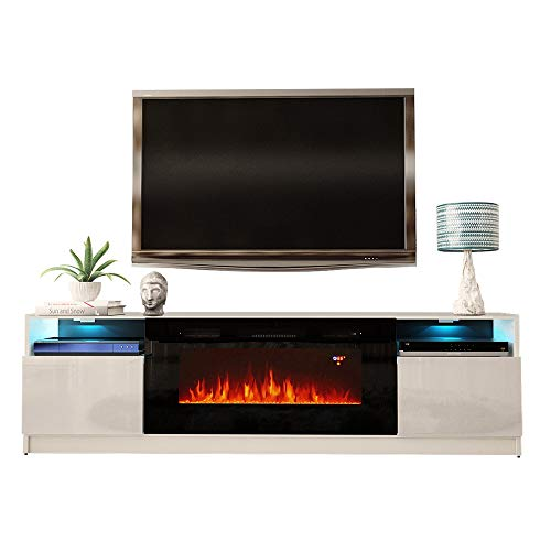 MEBLE FURNITURE & RUGS York 02 Electric Fireplace Modern 79' TV Stand