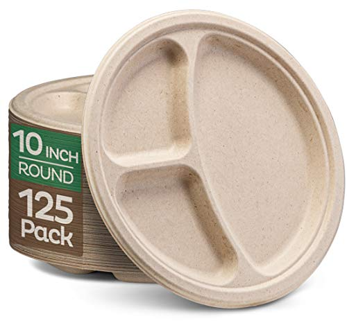 100% Compostable Paper Plates [10 inch - 125-Pack] 3 Compartment Disposable Plates Heavy-Duty Quality, Natural Bagasse Eco-Friendly Made of Sugar Cane & Wheat Straw Fibers, 10' Biodegradable Plates