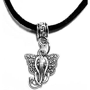 "Animal themed black velvet cord necklace Gift~black velvet necklace 18""~tibetan silver charms (indian elephant necklace):Viralbuzz"