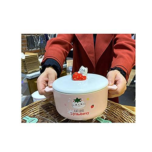 Cerámico Tazón De Sopa,Con Asas Dobles Con Tapa Cuencos De Porcelana,Microondas Caricatura Cuenco De Cerámica Cuadrado-Gato blanco grande-850 ml