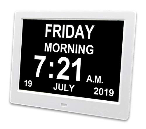 YCOO [2019 Newest] Digital Calendar Day Clock with 8' Display Digital,12 alarms Clocks for people living with Dementia, Memory Loss Alzheimer, 8-inch Digital Photo Frame