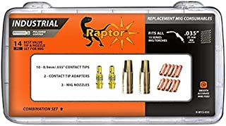 14PC RAPTOR SERIES MIG CONSUMABLE KIT CuCrZr CONTACT TIPS, NOZZLES, TIP HOLDER DIFFUSER FOR 15AK / MB 15AK CO2 MIG/MAG TORCH  (CONTACT TIP (CuCrZr), 0.035