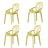 KHDJ Juego de 4 sillas de Comedor, Silla Retro Silla de diseño sillas de Comedor Silla de Oficina sillas de Sala de Estar Silla de Cocina de salón de plástico con Respaldo,Amarillo