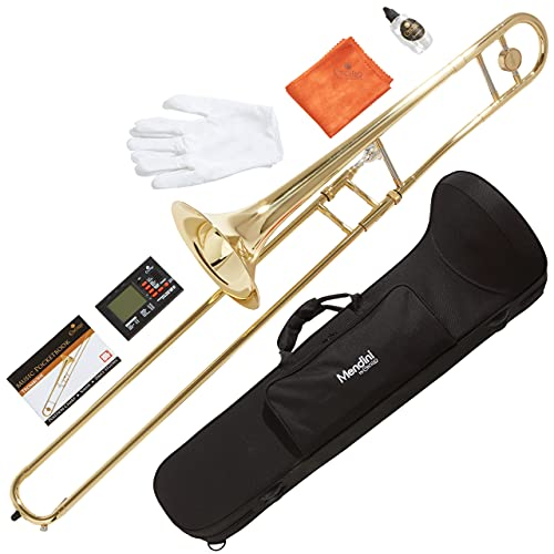 Mendini by Cecilio Trombone Kit - Bb Tenor Brass Instruments for Kids, Beginners w/Case & Gloves