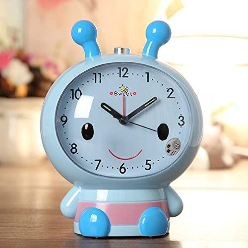 XKMY Reloj despertador creativo con diseño de dibujos animados para niños, con diseño de abeja, luz nocturna, silencioso, segundo, doble sonido, color azul
