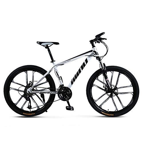 GZMUK 26 Zoll Mountainbike Kohlenstoffreicher Stahl 21(24,27) Geschwindigkeit Scheibenbremse Fahrrad Für Jungen, Mädchen, Herren Und Damen,Weiß,21 Speed