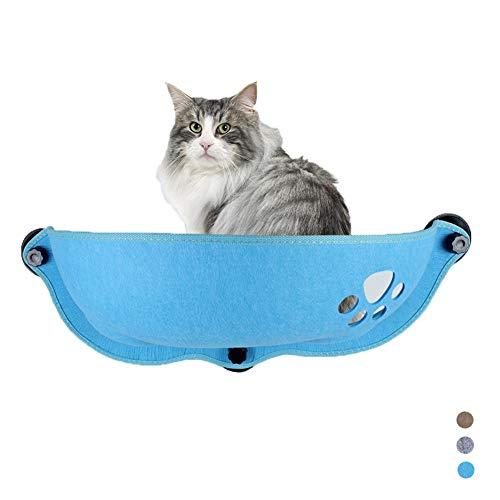 ZWW Kattenbed, hangmat-zitje, aan de muur gemonteerd, verstelbare zitting voor kattenbed, met zuignap, geschikt voor katten tot 8 kg