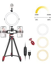 Neewer 8-Inch Selfie Ring Light with Tripod Stand, 3 Cold Shoes, 2 Phone Holders, LED Ring Light with Remote Kit: 3 Mode lights and 10-Level Brightness for Makeup, YouTube/TikTok Video, Live Streaming