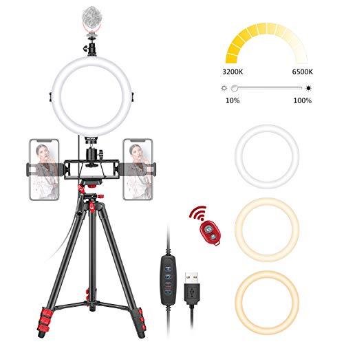 Neewer 8 Zoll Selfie Ringlicht mit Stativständer, 3 kaltschuhen, 2 Handyhaltern, LED Ringlicht mit Fernbedienungskit 3 Moduslichter für Make-up, YouTube/TikTok Video, Live Streaming