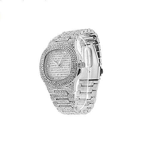 Jewelry Bust Down AP Watch Supreme Collana Rapper Bling Rollex Skelton Iced Out Hip Hop Watch Cubic Zirconia Diamonds Colore Oro Argento e Acciaio ino