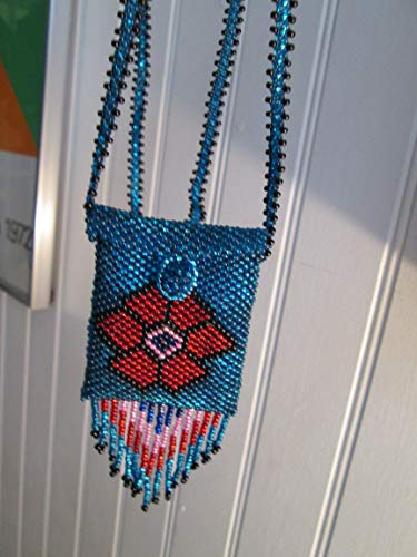 red blue flower floral Hand beaded Guatemalan central american Native design medicine bag stash pouch necklace fair trade southwest glass beads Aztec Indian design Ethnic beads bead