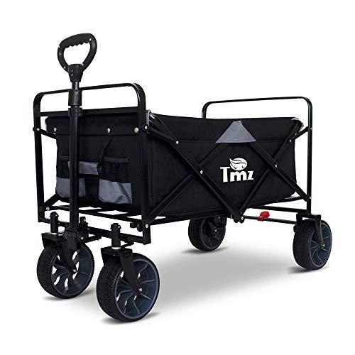 TMZ Faltbarer Bollerwagen All-Terrain Gartenwagen mit Fußbremse, Patentierter Breiter Auto-Reifen Klappwagen, 90 L Handwagen, Last bis 120KG, ABS-Kunststoff und Gummireifen