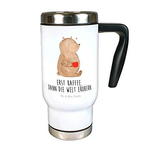 Mr. & Mrs. Panda to Go Becher, Thermotasse, Edelstahl Thermobecher Bär Kaffee mit Spruch - Farbe Weiß