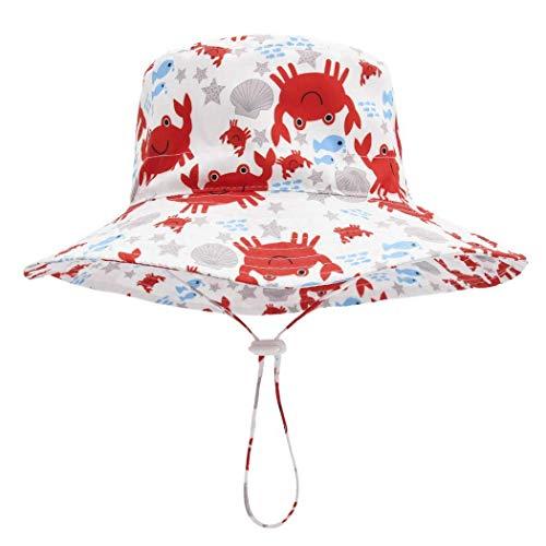 Foruhoo Baby Mädchen Mütze Sonnenhut, Kinder Hut UV-Schutz mit Kordelzug, Breite Krempe Sommerhut (Krabbe,52cm / 2-4 Jahre)