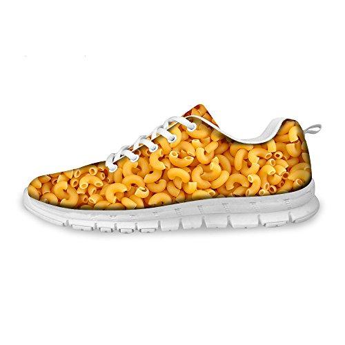 Herren Laufschuhe Turnschuhe Straßenlaufschuhe Schuhe Gelbe Nudeln Makkaroni Essen Druck Jungen Mode Sportschuhe Fitness Atmungsaktiv Sneakers Shoes Gelb HA01 EU 42
