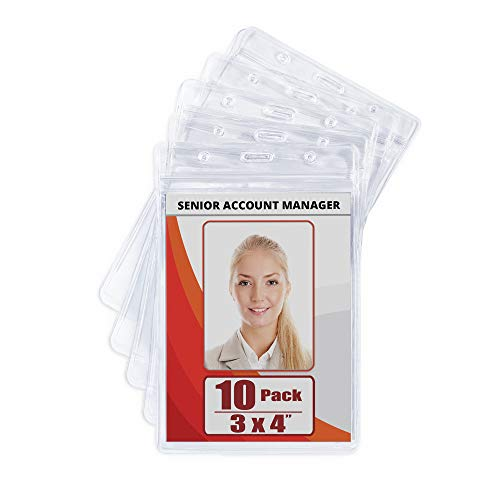 MIFFLIN Large (L) Vertical ID Badge Holders (Clear, 3x4 inch, 10 Pack), Plastic Nametag Covers with Zipper, Name Tag Holder