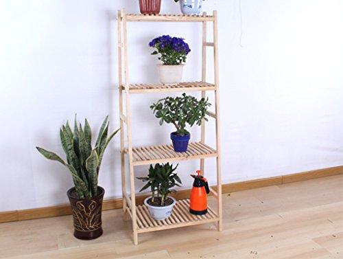 $Etagère d'exposition Le support en bois se pliant d'échelle de 4 niveaux en bois d'affichage de support d'intérieur en bois d'intérieur ( Couleur : Wood , taille : 80cm )