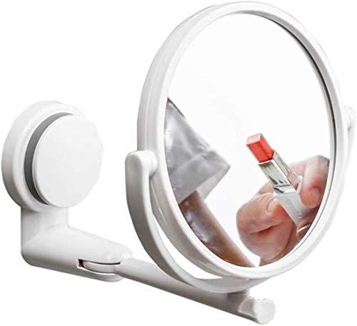 Miroir de maquillage LHY Salle de Bain Double Face Toilettes Pliant Rotating beauté Miroir Collant Disque Mural Ventouse Ronde La Mode (Color : Weiß)