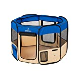 Zampa Portable Foldable Pet playpen Exercise Pen Kennel Carrying Case for Larges Dogs Small Puppies/Cats | Indoor/Outdoor Use | Water Resistant (Extra Small (29'x29'x17'), Blue)