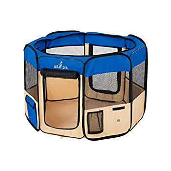 Zampa Portable Foldable Pet playpen Exercise Pen Kennel Carrying Case for Larges Dogs Small Puppies/Cats | Indoor/Outdoor Use | Water Resistant