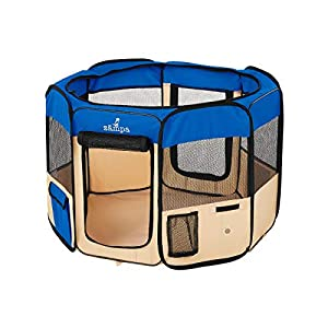 Zampa Portable Foldable Pet playpen Exercise Pen Kennel Carrying Case for Larges Dogs Small Puppies /Cats | Indoor / Outdoor Use | Water Resistant