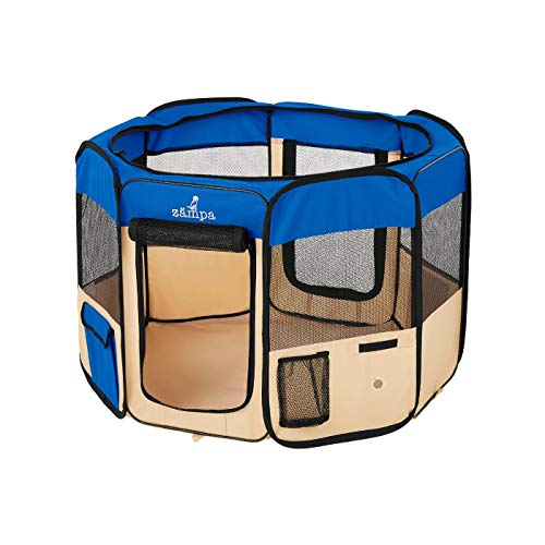 Zampa Portable Foldable Pet playpen Exercise Pen Kennel Carrying Case for Larges Dogs Small Puppies...