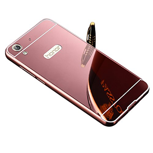 Vandot Huawei Honor 5A / Y6II / Y6 II / Y6 2 / Honor Holly 3 Mirror Case,Ultra Thin Slim Metal Aluminum Frame Bumper Reflective Hard Back Cover [Non-slip] [Shockproof] Protective Skin Shell-Rose Gold
