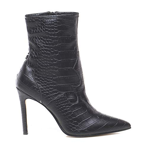 Guess Scarpe Donna Ankle Boot Tronchetto Bayley TC 90 Ecopelle Stampa Cocco Nero D20GU76