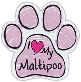 Pink Scribble Paws: I LOVE MY MALTIPOO (MALTESE POODLE), Dog Paw Car Stickers - Sticker Graphic - Auto, Wall, Laptop, Cell, Truck Sticker for windows, cars, trucks, tool boxes, laptops