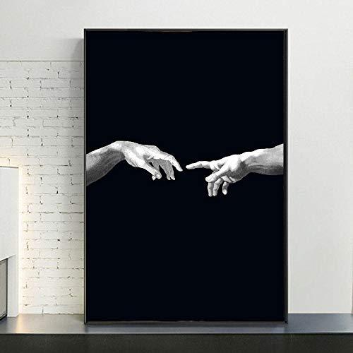 QianLei creatie van Adam creativiteit canvas kunst foto's hand te hnad op zwarte achtergrond canvas schilderij 50x75cm geen lijst