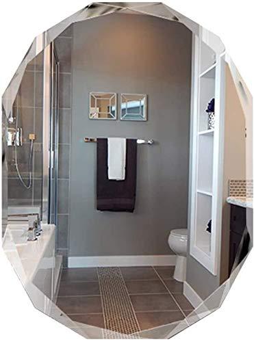 GAOTTINGSD Espejo Maquillaje Cuarto de baño Espejo de baño, Exquisito Diamante Ribete sin Marco Espejo - Espejo de Cristal Decorativo - Wall Pegar Espejo de Pared (Tamaño: 60x80cm)