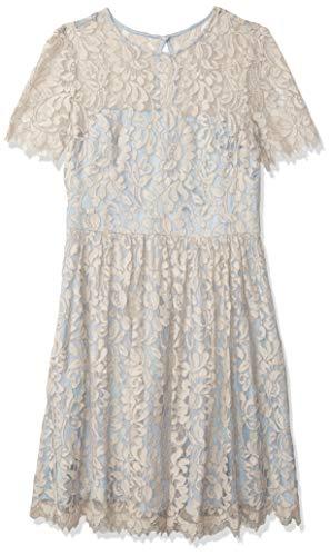 Eliza J Women's Cap Sleeve Lace Dress, Beige, 6