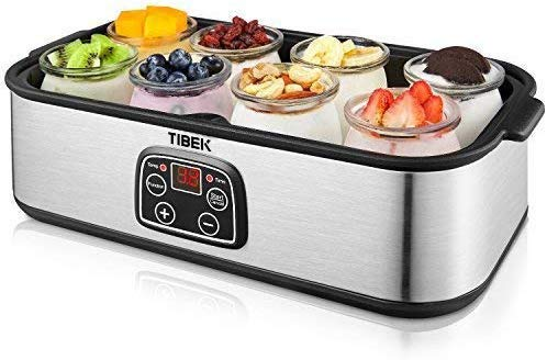 TIBEK Yogurt Maker LCD Display Yogurt Maker Machine with 8 Glass Jars 48 oz, Temperature Control, Auto Off Timer, Stainless Steel, 30W