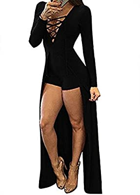 Walant Women Sexy Deep V Neck Lace Up Long Sleeve Bodycon Party Club Dress